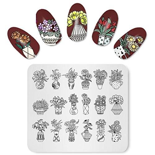 Nagel Stempelplatten Blumenstrauß Topfpflanzen Blumen Nail Art Stempel Vorlage Stempel Schablone für Nägel Maniküre