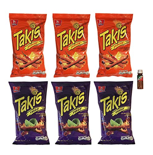 Takis Fuego and Takis Xplosion Tortilla Chips 3.2 oz - 3 of Each Flavor with Free Mini Tajin Clasico Seasoning (6 Pack)