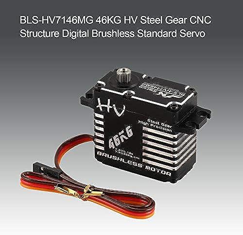 Yaoaomon BLS-HV7146MG 46KG HV Stahlgetriebe CNC Struktur Digital Brushless Standard Servo Schwarz