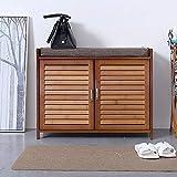 N/Z Home Equipment Shoe Rack Shoe Bench Ottoman Shoe Storage Rack Wooden Shoe Cabinet with Seat Cushion For Entryway Hallway Bathroom Living Room Sturdy Shoe Shelf (Color : B Size : 69X35X54 cm)