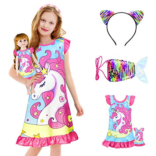 KeeFsion Mädchen Nachthemd Kinder Schlafanzug Mehrfarbige Nachthemden Prinzessinnen Nachtwäsche für Mädchen Nachtkleid zum Schlafen, Mehrfarbig (No.1), 140 (8-9 Jahre)