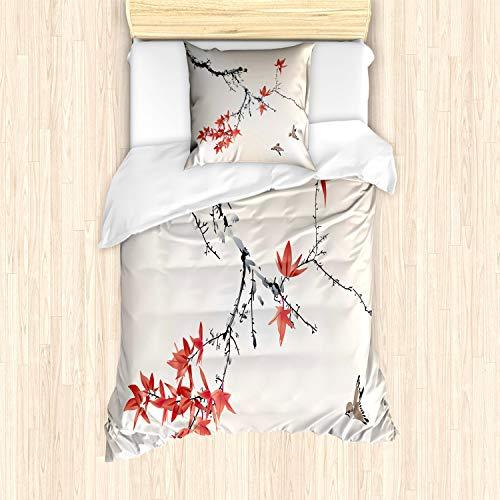 ABAKUHAUS japanskt sängöverkast set för enkelsängar, romantisk vårtema, kvalstersäker allergiker lämplig med kuddöverdrag, svart korallröd