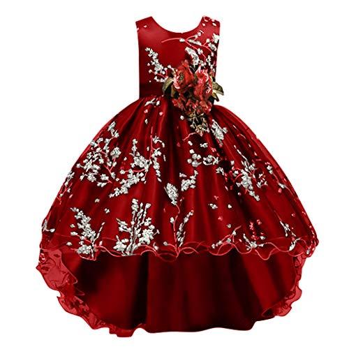 Kolylong Deguisement Costume Carnaval Fille Princesse Robe Robe de soirée Chic Rouge 120