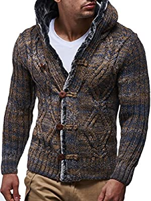 Leif Nelson Men's Knitted Cardigan | Long-sleeved slim fit hoodie | Stylish button up cardigan for Men | Winter pullover