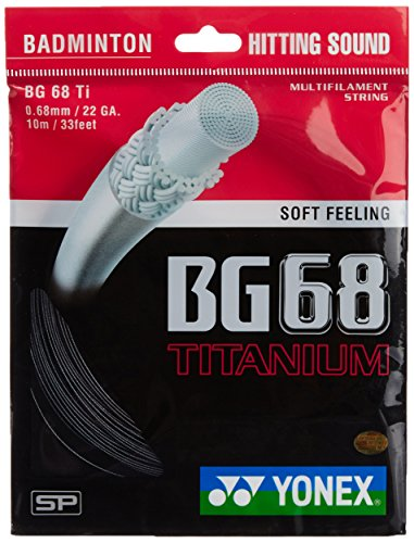 YONEX BG68 Ti Titanium Badminton Strings (Black)