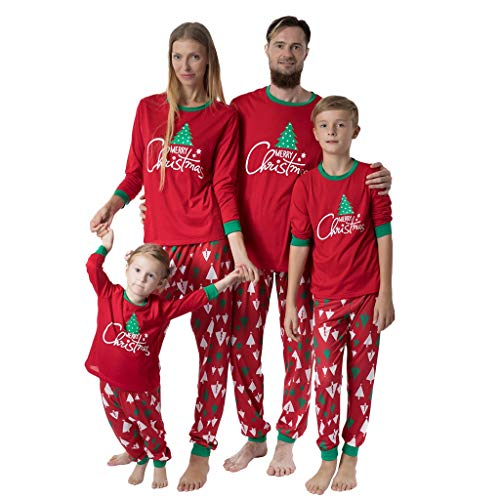 Atezch Matching Family Christmas Deer Print Pajamas Sleepwear Nightwear Personalized Red