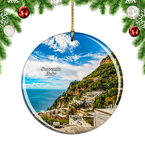 Weekino Italy Punta del Capo Sorrento Christmas Xmas Tree Ornament Decoration Hanging Pendant Decor City Travel Souvenir Collection Double Sided Porcelain 2.85 Inch