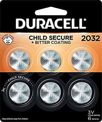 Duracell 2032 Lithium Coin Battery 3V   Bitter Coating Discourages Swallowing   Child-Secure Packaging   Long-Lasting Power   Key Fobs, Remotes & More   6 Count
