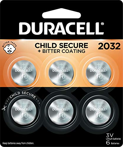 Duracell 2032 Lithium Coin Battery 3V | Bitter Coating Discourages Swallowing | Child-Secure Packaging | Long-Lasting Power | Key Fobs, Remotes & More | 6 Count