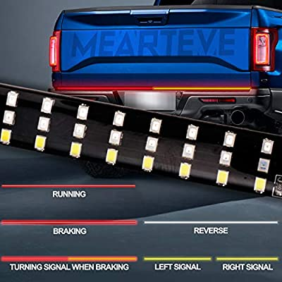 Upgraded Led Tailgate Light Bar 3 Row,Turn Signal Light Normal When Braking,60 Inch Tailgate Light Strip for Truck Trailer SUV RV VAN Waterproof with Standard 4-Pin Flat Connector,No Drill Install