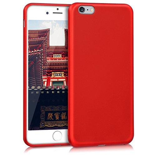 kwmobile Funda Compatible con Apple iPhone 6 Plus / 6S Plus - Carcasa móvil de Silicona - Protector Trasero en Rojo Oscuro Metalizado
