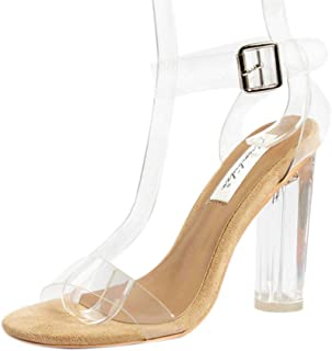 Stupmary Women's Clear Strap Pumps Shoes High Heeled Transparent Black Chunky Heels Buckle Strap Sandals
