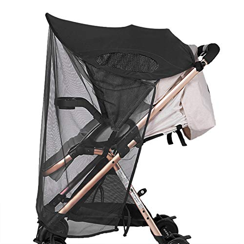 2-in-1 Baby Stroller Sun Shade&Mosquito Net Awning Windproof Anti-UV Safe Umbrella Canopy Universal Fit Breathable Cover for Stroller Car Seat Jogger Traval Accessories