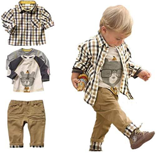 SOPO Kleinkind Jungen Casual 3-teiliges Set (T-Shirt + kariertes Hemd + Khaki Hose) 1-2 Jahre