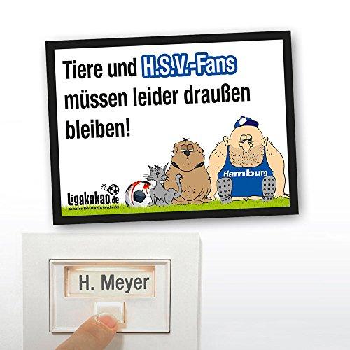 Klingel Abwehr-Schild vor Hamburg-Fans | Achtung Bremen-, St. Pauli- & alle Fußball-Fans, Dieses witzige Haus-Tür-Schild sorgt für klare Verhältnisse