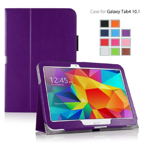 MOFRED Purple Samsung Galaxy Tab 4 - 10.1 inch Case-MOFRED Retail Packed Executive Multi Function Standby Case with Built-in Magnet for Sleep / Wake Feature For the Samsung Galaxy Tab 4 10.1 inch Tablet + Screen Protector + Stylus Pen (Available in Mutiple Colors)