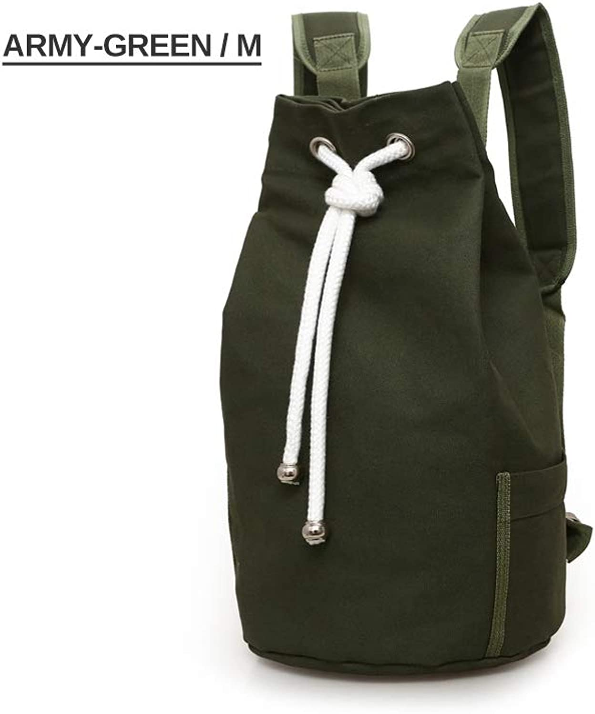 NDYE Men Gym Fitness Drawstring Backpack Canvas Bucket Basketball Bag Training School Travel Riding Outdoor