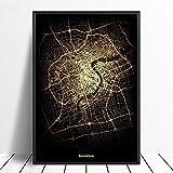 Leinwanddruck,Shanghai City Schwarz Golden Custom Welt