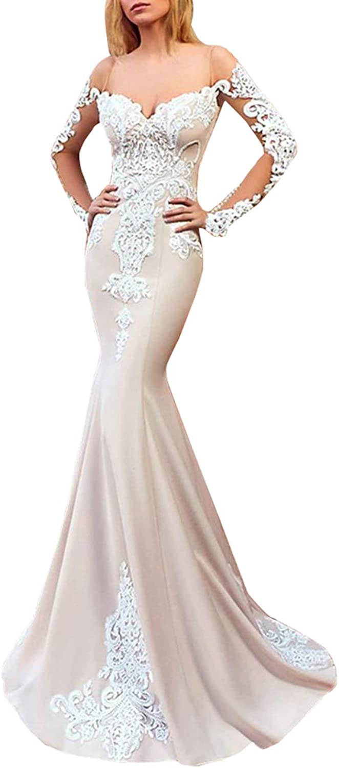 Aishanglina Women's Mermaid Sweetheart Lace Appliques Sleeves Long Bridal Wedding Dresses Evening Dresses Prom Ball Gowns