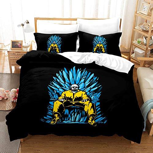 LLKK - Set di biancheria da letto, 200 x 200 cm, con 2 federe da 50 x 75 cm, per ragazze, ragazzi, bambini, 3D Breaking Bad Comforter Cover ultra morbida in microfibra, trapunta per camera da letto