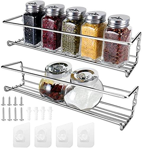 2 PCS Especiero, Cocina Estanterías Especias,Estante Metálico Para Especias Para Especias, Hierbas,con Tornillos / Autoadhesivo (Plata)