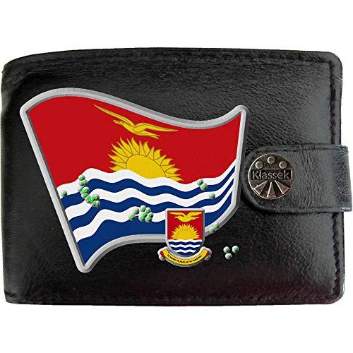 Kiribati Kiribati Flagge Karte Wappen Bild auf KLASSEK Marken Herren Geldbörse Portemonnaie Echtes Leder RFID Schutz mit Münzfach Zubehör Geschenk mit Metall Box