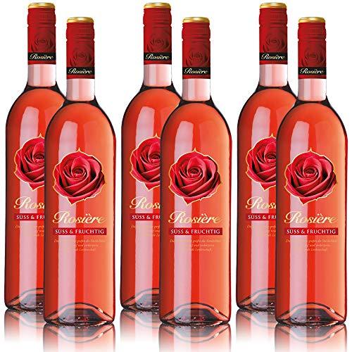 6 Flaschen Rosiere Rosé Wein, süss und fruchtig, Weinpaket (6 x 0,75 l)