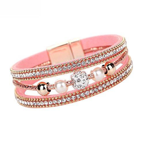 WooCo Mehrschichtiges Armband Leder Kristall Perlen Armband Charm Armband für Frauen Geschenk Sale Damen Armreif(Pink)