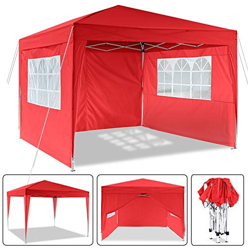 Laiozyen 3 x 3 m Waterproof Pop Up Gazebo Marquee Water Resistant Tent with Side Panels & Storage Bag for Outdoor Wedding Garden Party (Red-3 x 3 m)