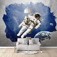 壁画壁紙 宇宙飛行士 3Dポスター壁紙 不織布3Dアートモダンポスター画像リムーバブルDIYリビングルームカスタマイズ可能なサイズ壁画壁装飾 350X250cm (137X98inch)