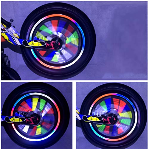 IUHI 12 Pcs Universal Colorful Reflective Bicycle Spoke Skins Wraps-Best Gift for Kids&Schoolmate&Bike Fans- Wheel Decoration Protector for Road Mountain Bikes (D)