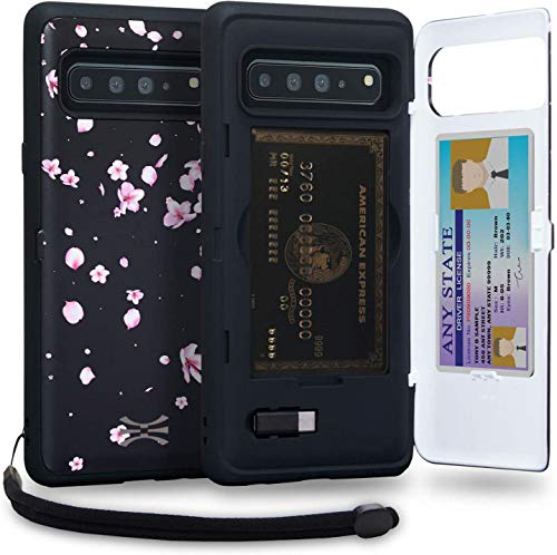 TORU CX PRO Compatible with Samsung Galaxy S10 5G Case - Protective Dual Layer Wallet Floral with Hidden Card Holder + ID Card Slot Hard Cover, Strap, Mirror & USB Adapter - Sakura Flowers