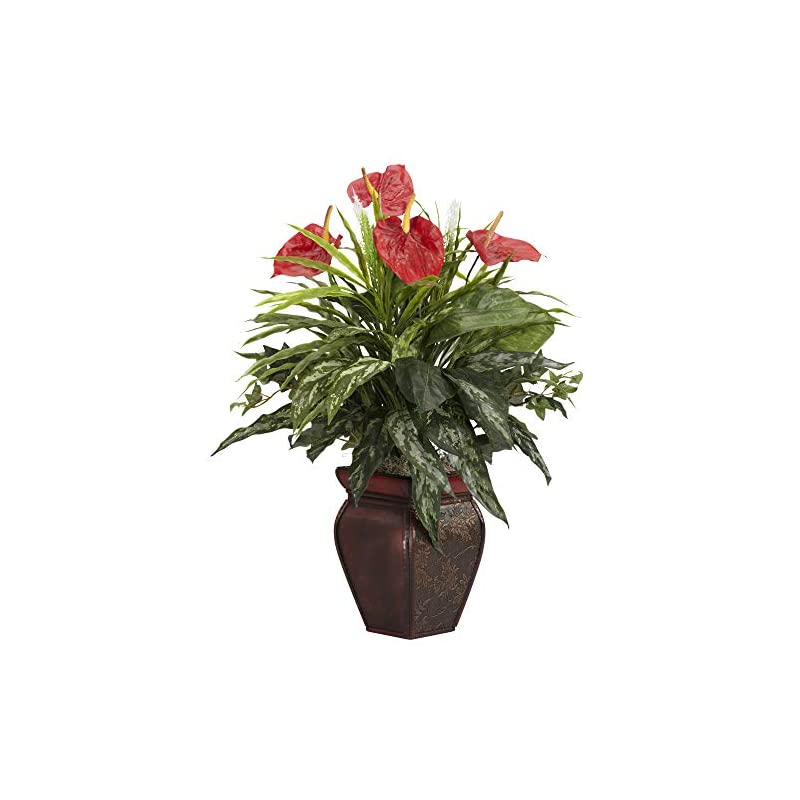 silk flower arrangements nearly natural 6678 mixed greens and anthurium with vase decorative silk plant, green