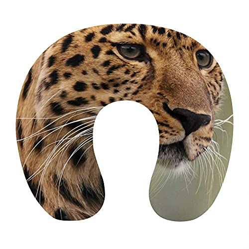 Almohada de Viaje, en Forma de U Almohadilla Cervical, Viscoelástica Cojin Cervical, con Funda Extraíble, para el Aeroplano, el Oficina, el Hogar (Pantera Animal )