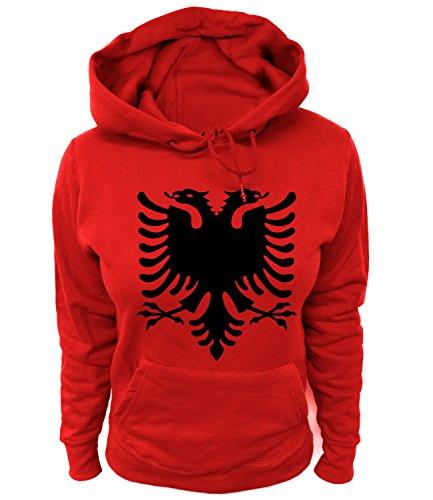 Artdiktat Damen Hoodie - Albanien Wappen Coat of Arms Pallto e Armëve, Größe M, rot