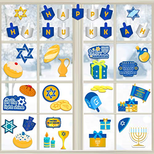 Outus 8 Sheets Happy Hanukkah Stickers Waterproof Hanukkah Signs Menorah Labels Hanukkah Decor Jewish Crafts for Hanukkah Party Decorations Supplies
