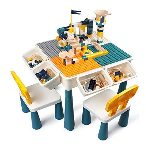 MYRCLMY Mesa De Actividad Multi Kids Conjunto con 2 Sillas Y 100 PC Bloques De Tamaño Grande Compatibles con Bloques Clásicos, Mesa De Agua, Mesa De Arena Y Mesa De Construcción