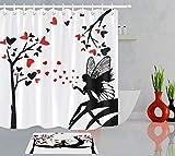 XCBN Schwarzes & weißes Feenschmetterlingsmädchen- Duschvorhang des roten Herzens Valentine Duschvorhang Badezimmerdekoration A2 180x200cm