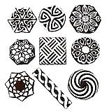Hashcart Sellos de Madera para impresión, Estampado y Tallado a Mano con baren; Diseños de impresión Ideales para Impresiones artesanales, Impresiones de Tela, Bloc de Notas - Set de 9