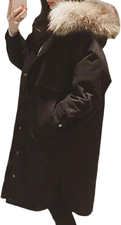 ZXFHZSCA Women Winter Faux Fur Hood Drawstring Pocket Parkas Jacket