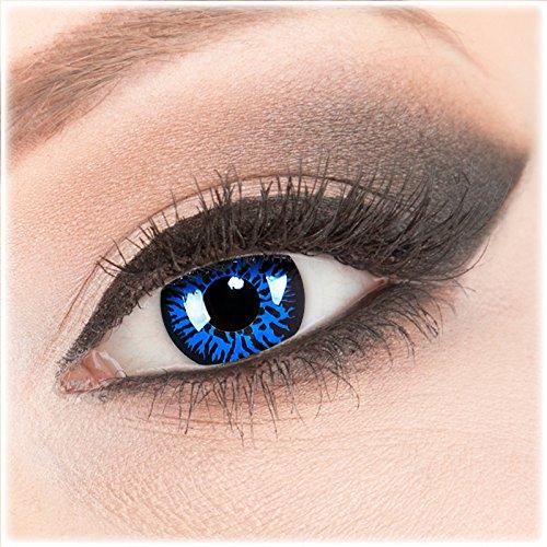 Farbige blaue schwarze Crazy Fun Kontaktlinsen 1 Paar 'Blue Demon' mit Kombilösung (60ml) + Behälter - Topqualität von 'Evil Lens' zu Fasching Karneval Halloween ohne Stärke