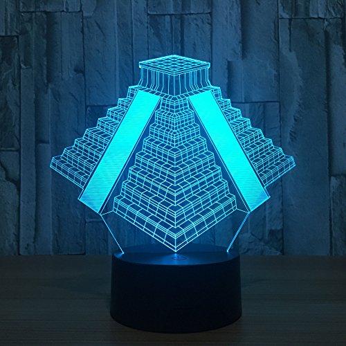 DKIPN Ägyptische Pyramiden 3D Illusion Lampe Geburtstag Weihnachtsgeschenk Led Nachtlicht Schlafzimmer Tischlampe Für Kinder, 16 Farben Ändern Touch Control Usb Nachttischlampe Dekoration Lampen