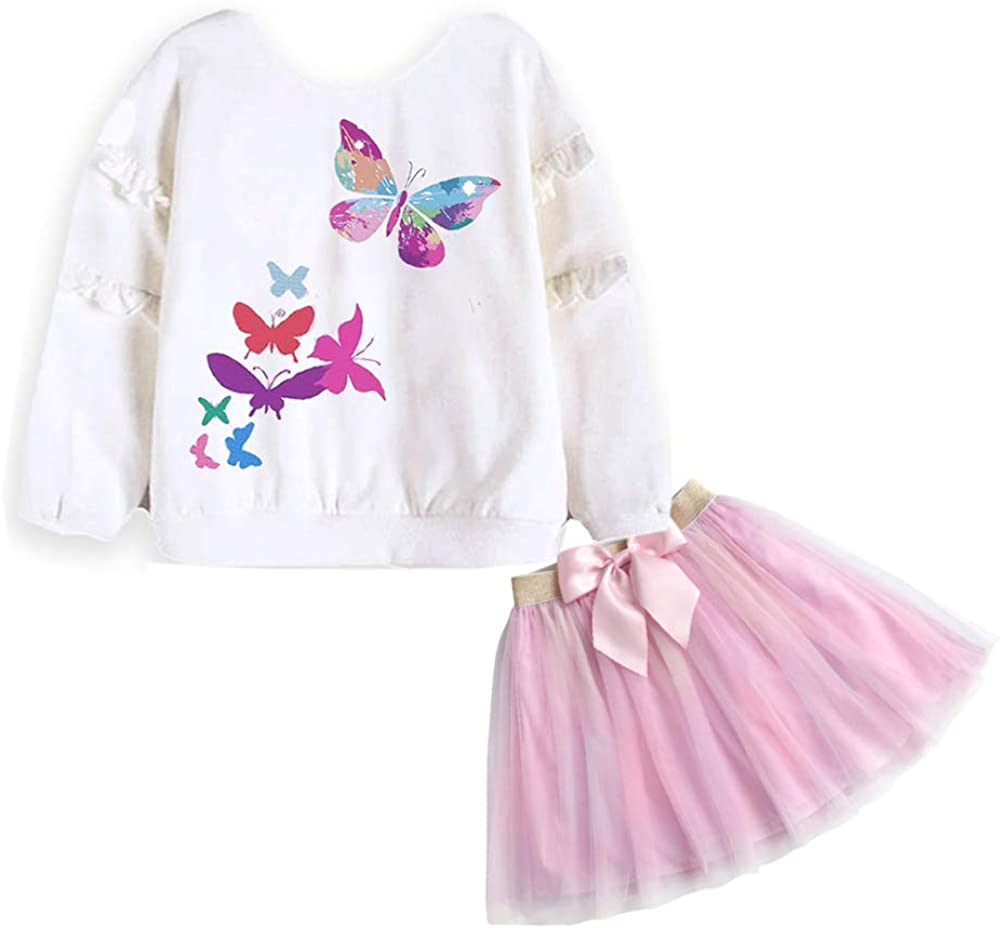 DXTON Toddler Girls Dresses Winter Long Sleeve Party Dresses 2pcs Casual T-Shirt and Tutu Skirt Set: Clothing, Shoes & Jewelry