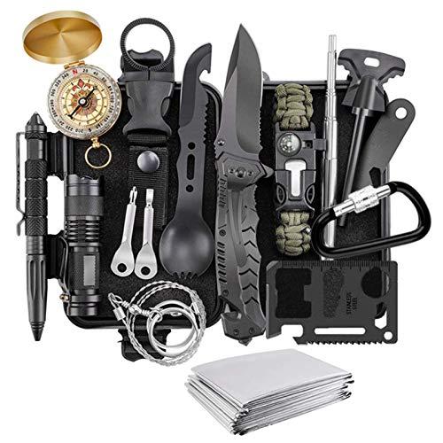 YANG WU Notfall-Rettungsset, professionelle Taktische Verteidigungsausrüstung, Rettungsset für den Außenbereich, einschließlich Kompass und Taschenlampe, für Camping und Wandern