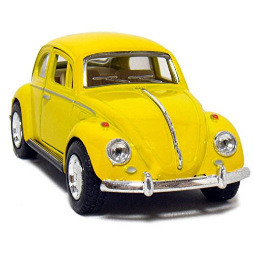 Kinsmart Yellow 1967 Classic Die Cast Volkwagen Beetle Toy with Pull Back Action