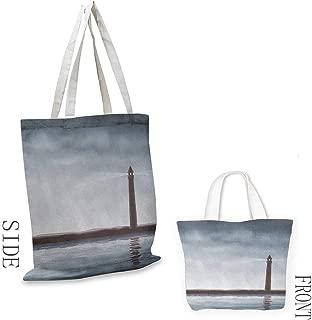 Natural canvas tote Lighthouse Foggy Atmosphere Marine Life Navigation Journey Seascape Digital Style Leisure travel bag 16.5