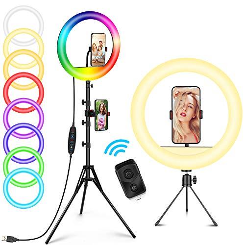 Anillo de luz RGB con soporte para trípode, 11 modos de colores RGB regulable, anillo de luz LED con soporte para teléfono Tiktok, YouTube/Shooting/Vlogs/maquillaje, compatible con iPhone Android
