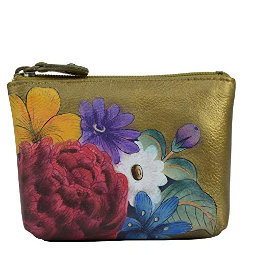 Anuschka Bolsa para monedas de piel auténtica para mujer, pintada a mano, diseño floral de ensueño