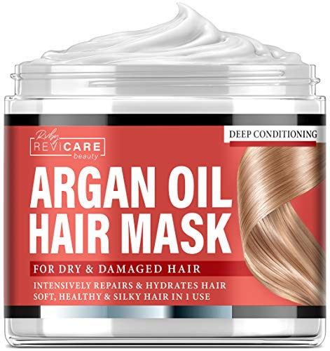 Argan Oil Hair Mask - Deep Conditioner for Dry Damaged Hair, Color Treated & Bleached Hair - Made in USA - Hydrating Argan Oil Repair Hair Mask for Damaged Hair - Silky Hair in 1 Use - 8 fl. oz.