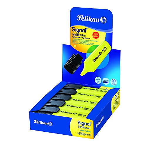 Pelikan - Subrayadores Fluorescentes - Signal - 10 Unidades - Color Amarillo - Material Oficina y Papeleria